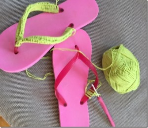 Dekorerade flip flops